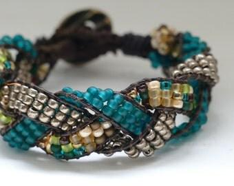 One Wrap Beaded Leather Wrap Bracelet, Braided Blue/Green Wrap Bracelet ,Braided Green/Blue Wrap Bracelet Blue Green Seed Bead Wrap Bracelet