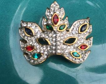 Swarovski Crystal Carnivale Mask Brooch Pingold-plated, signed, swan mark