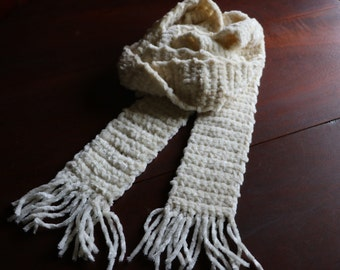 Winter White Hand Knit Extra Long scarf with fringe
