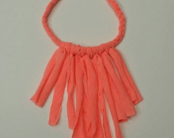 Coral braided fringe necklace