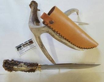 """Deer Antler Knife with sheath """"The Hog"""""""