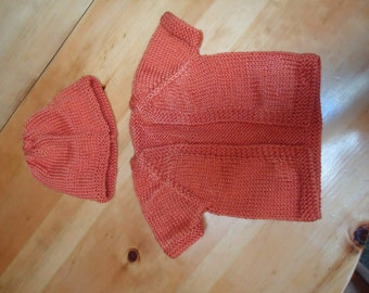 Baby girl cardigan with hat