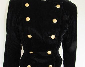 Vintage Albert Nipon Black Velvet Double Breasted Blazer Size 6