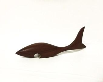 Vintage teak wood bottle opener mid century Haj danish design teak 1960s fish bottle opener made in Denmark