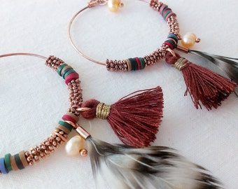 EARRINGS FEATHER AND TASSELS