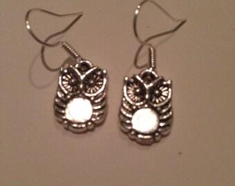 Small owl drop earrings