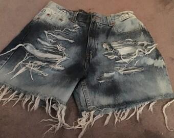 Lightly Washed  Bleached Denim Shorts