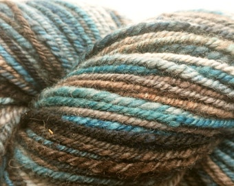 Hand Spun Yarn, Blue and Brown variegated, Merino wool, 3ply Sport or Worsted--#108