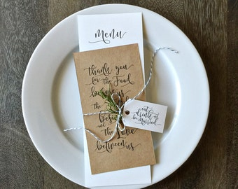 Printable Wedding Menu Templates, Printable Thank You Table Card - INSTANT DOWNLOAD