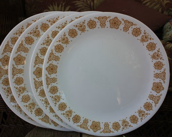 1970 Corelle by Corning BUTTERFLY GOLD Set of 4 Four Dinner Plate Plates 10 1/4 inches - Excellent Condition