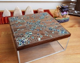 Wooden Box, Plexiglass multipurpose storage box, colored mother of pearl, trinket box, home decoration, Syrian Mosaic, Wood inlay art