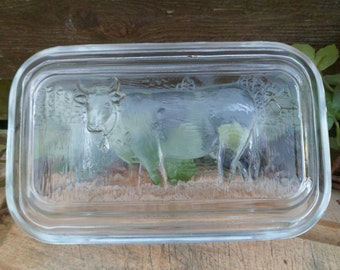 Former Berger art deco glass transparent thick cover beautifully decorated by cow/Vintage/France/Art of the table