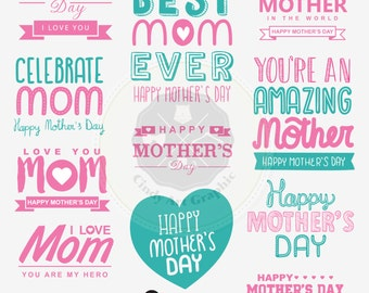Mother's Day Clipart,mom lettering clipart,lettering clipart,digital download