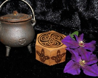 Celtic Triquetra Wooden Hexagonal Box