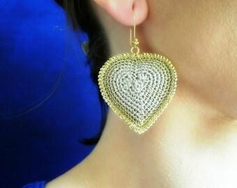 Heart earrings, heart shaped earrings