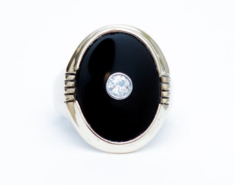 Vintage 1940s Onyx Ring, Onyx Ring, 10K Yellow Gold Ring, Oval Onyx Ring, Antique Ring, Estate Onyx and Diamond Ring, Black Onyx Ring