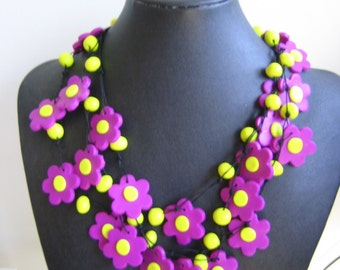 Purple and Yellow Ceramic Necklace