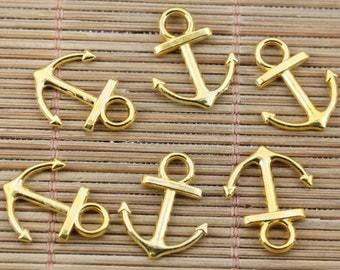 12 Anchor Charms Gold Tone Nautical Charm Harbor Charms Sea Charm Sailing Charm Ship Charm Bracelet Bangle Bracelet Pendants #385