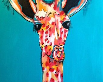 A Big, Bold, Bright, Beautiful Giraffe. Acrylic and oil on canvas. 82cm by 107cm.