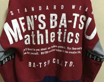 Vintage 90's Men's Ba-Tsu Athletic Classic Design Skate Sweat Shirt Sweater Varsity Jacket Size L #A315