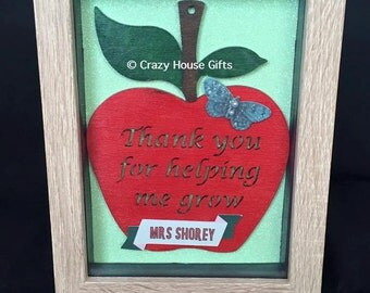 Framed hand painted MDF apple (15cm)