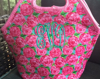 Monogrammed lunch tote / monogrammed lunch bag