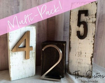 MULTI-PACK, Set of 10 Custom Block Table Numbers, Wood, Distressed, Wedding Table Numbers, Personalized