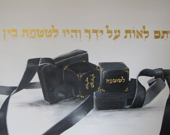 Painting Jerusalem,tefillin Original  Painting on Canvas,Hand Made, by Tomer Sharabani