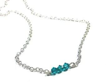 Asymmetric Necklace, Blue, Swarovski Crystal, Sterling Silver Chain Necklace