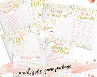 Peach Gold Baby Shower Games Package Includes Advice Card Wishes for Baby Card - Printable Baby Shower Games Package - Peach and Gold -BSG3