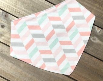 Pink and Mint Chevron Dribble Bib || Bandana Bib