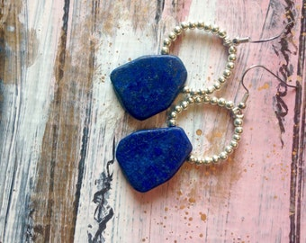 Silver and lapis bead earrings