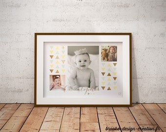Displays picture Triangle & name - customizable - gilding - colour-decorating - child - room