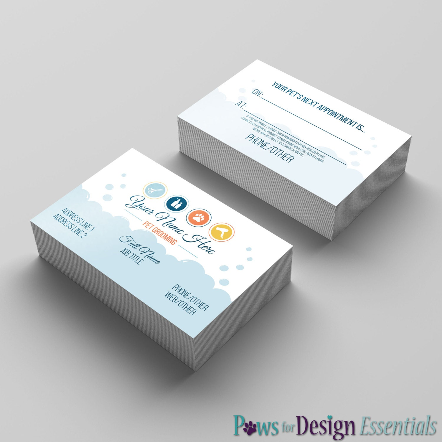 premade pet groomer business card salon icons dog grooming