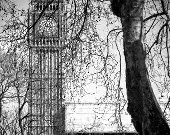 Big Ben, London, England, UK, Britain Black and White Photo