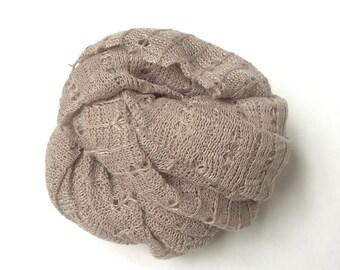 Truffle Knit Stretch Wrap, Newborn Photography Wrap, Newborn Wrap, Newborn Stretch Wrap, Newborn Neutral Wrap, Newborn Knit Wrap