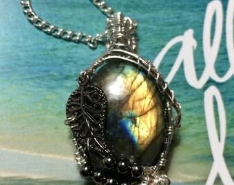 Labradorite crystal pendant