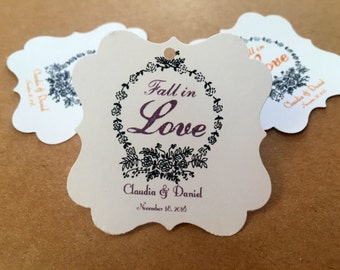 Fall in love wedding favor tags, thank you favor tags