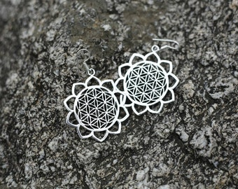 Earrings mandala flower  Boho chic