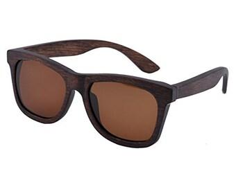 Brown Classic Wooden Sunglasses Polarized Lens - Ziba Wood Sunglasses: The Sebastian