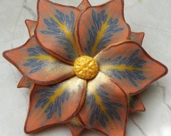 Golden brown flower brooch