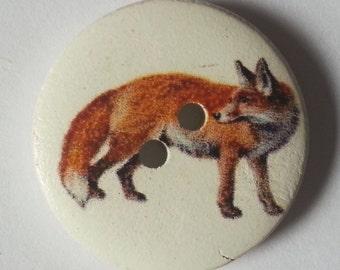 Pack of 15 Wooden Wildlife Craft Buttons - British Hedgerow Garden Animals - Fox - 18mm 25mm