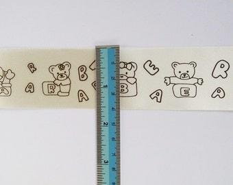 NEW 3M x 40mm Bear Printed Light yellow Ribbon 3M