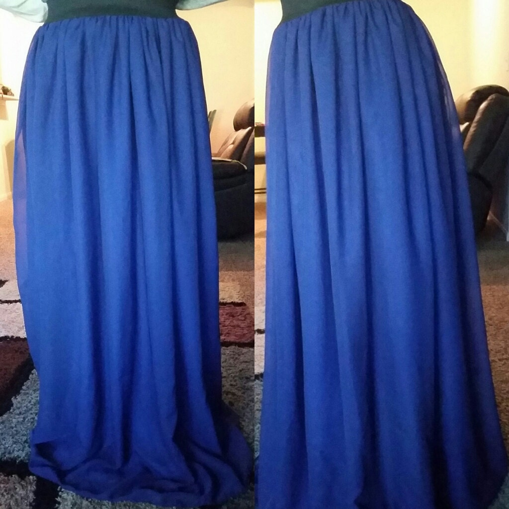 royal blue chiffon maxi skirt by reeshinspiredmodesty on etsy