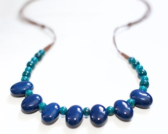 Handicraft lake porcelain necklace