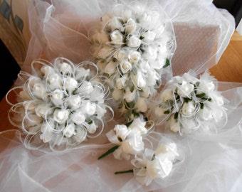 ivory wedding bouquet package shimmer organza teardrop bride flowers  ivory rosebuds  posy bridesmaids bouquet ivory wedding