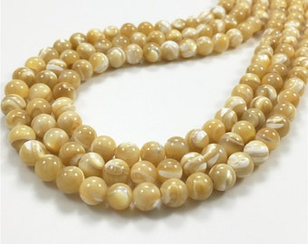 20pcs 6mm Mother Of Pearl Beads, Round Shell Beads, Shell Jewelry