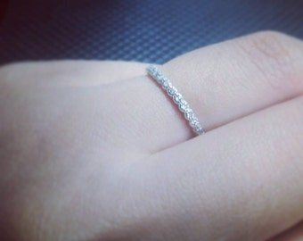 Thin 1.5mm CZ Diamond sterling silver ring