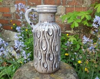 Scheurich: Vintage West German Pottery Vase 488-26 - Koralle decor in grey/pale lilac - UK Seller