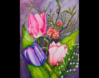 "Everlasting Tulips: 9x12"" print of an original watercolor painting"